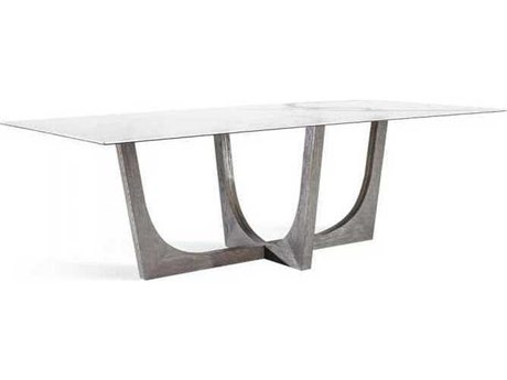 Interlude Home Grey Wash Oak/ Antique Brass/ Statuario 96'' Wide Rectangular Dining Table IL168103