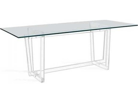 Interlude Home Clear/ Polished Nickel (Hardware) 96'' Wide Rectangular Dining Table IL168104