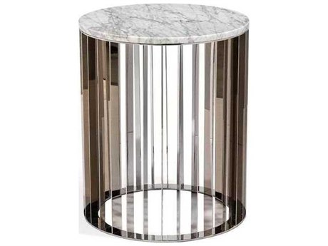 Interlude Home Polished Nickel/ Carrara White 20'' Wide Round Drum Table IL155114