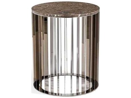 Interlude Home Polished Nickel/ Italian Grey 20'' Wide Round Drum Table IL155115
