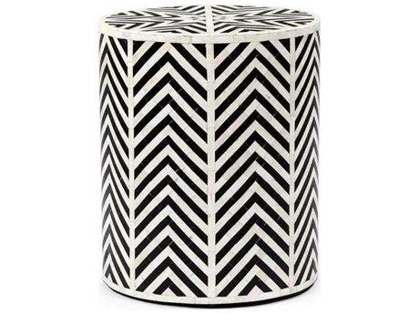 Interlude Home Cream/ Black 15'' Wide Round Drum Table IL168052