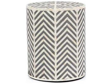 Interlude Home Cream/ Grey 15'' Wide Round Drum Table IL168054