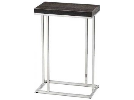 Interlude Home Polished Nickel/ Smoked Grey Oak 14'' Wide Rectangular End Table IL125130