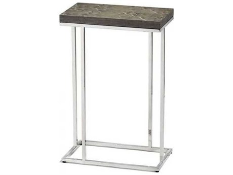 Interlude Home Polished Nickel/ Grey Bird'S Eye Maple 14'' Wide Rectangular End Table IL125131