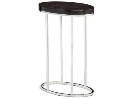 Interlude Home Polished Nickel/ Smoked Grey Oak 14'' Wide Oval End Table IL125134
