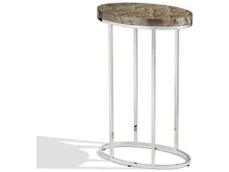 Interlude Home Polished Nickel/ Grey Bird'S Eye Maple 14'' Wide Oval End Table IL125135