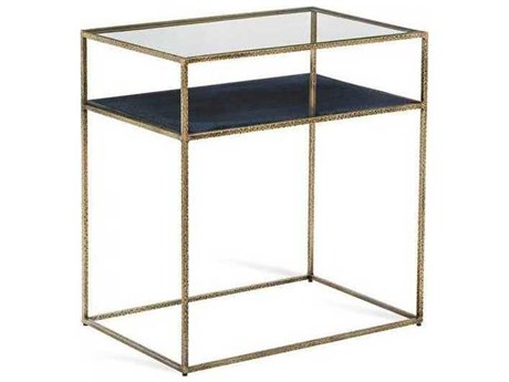 Interlude Home Antique Brass/ Reactive Iceberg Blue/ Clear 27'' Wide Rectangular End Table IL125153