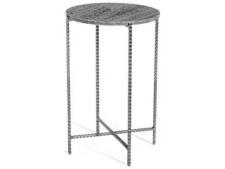 Interlude Home Grey Marble/ Antique Nickel 16'' Wide Round End Table