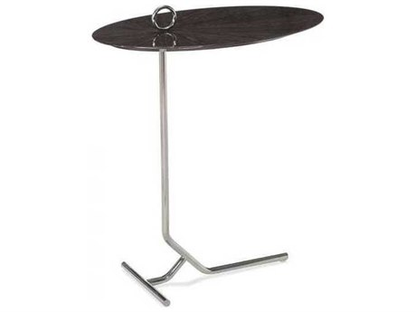 Interlude Home Smoked Grey Oak/ Polished Nickel 20'' Wide Oval End Table IL125173