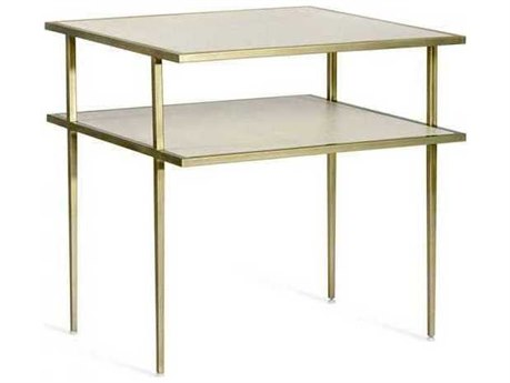 Interlude Home Snow White/ Champagne Silver 24'' Wide Square End Table IL128120