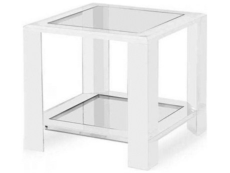 Interlude Home Clear/ Clear Glass 24'' Wide Square End Table IL165082
