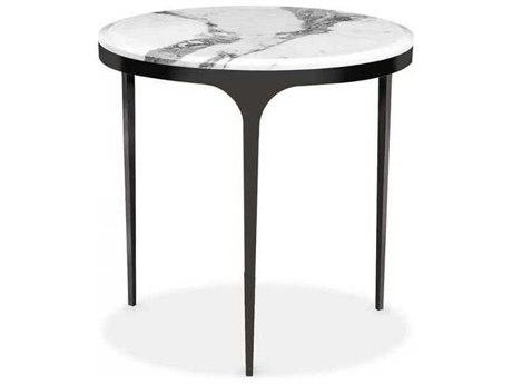 Interlude Home Gunmetal/ Arabescato 24'' Wide Round End Table IL168002
