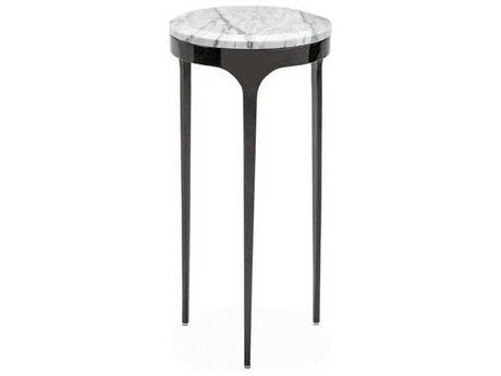 Interlude Home Gunmetal/ Arabescato 10'' Wide Round End Table IL168010