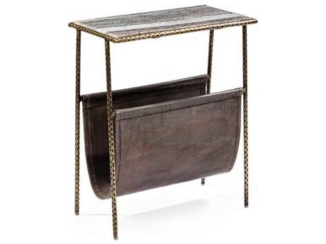 Interlude Home Antique Brass/ Grey Marble/ Leather 18'' Wide Rectangular End Table IL168047