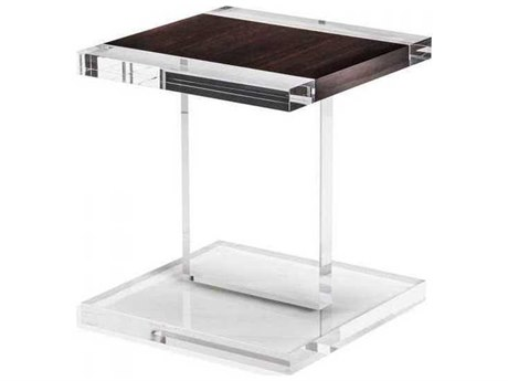Interlude Home Clear/ Smoked Figured Eucalyptus 18'' Wide Square End Table IL168077