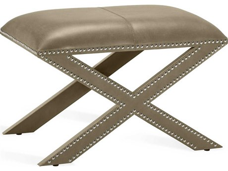 Interlude Home Kenzie Distressed Glazed Taupe / Polished Nickel Accent Stool