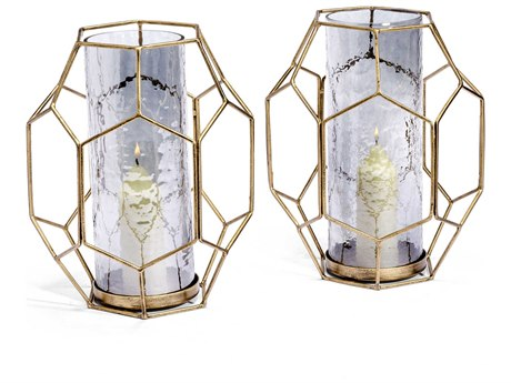 Interlude Home Lacey Antique Gold / Midnight Luster Candle Holder