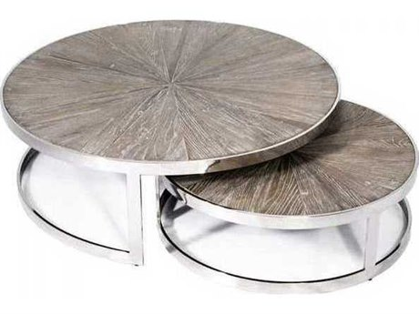 Interlude Home Polished Nickel/ Icy Grey 44'' Wide Round Coffee Table Nesting IL118089