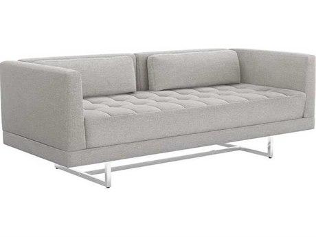Interlude Home Pure Grey/ Polished Nickel Loveseat Sofa IL1990116