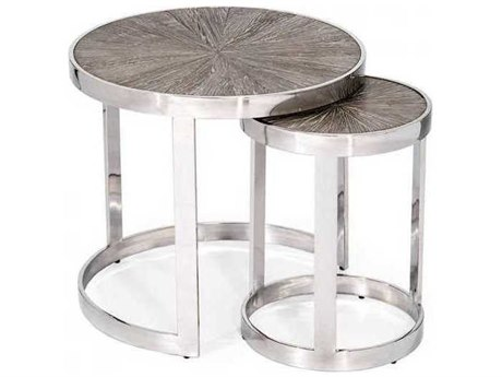Interlude Home Polished Nickel/ Icy Grey 22'' Wide Round Nesting Table IL159036