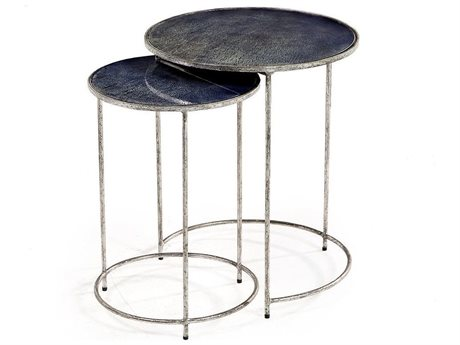 Interlude Maci Antique Silver / Reactive Cobalt Round Nesting Tables IL168040