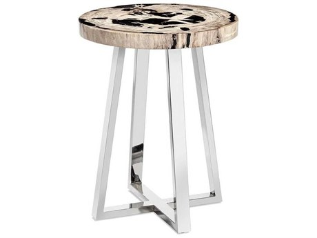 Interlude Home Nolan Polished Nickel / Dark And Light Natural 22'' Wide Round End Table IL155146