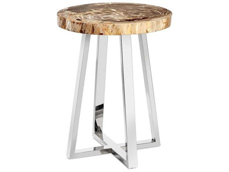 Interlude Home Nolan Polished Nickel / Light Natural 22'' Wide Round End Table IL155147