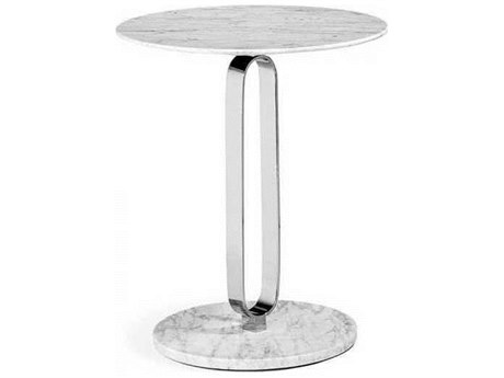 Interlude Home Polished Nickel/ Carrara White 18'' Wide Round Pedestal Table IL155116
