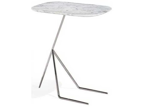 Interlude Home Polished Nickel/ Carrara White 20'' Wide Rectangular Pedestal Table IL155118
