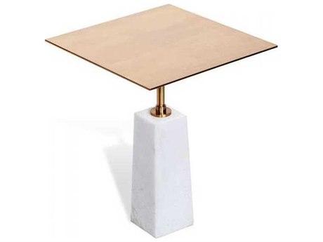 Interlude Home White/ Coffee Bronze 15'' Wide Square Pedestal Table IL159037