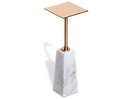 Interlude Home White/ Coffee Bronze 7'' Wide Square Pedestal Table IL159040