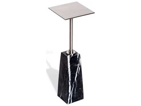 Interlude Home Black/ Brushed Nickel 7'' Wide Square Pedestal Table IL159042