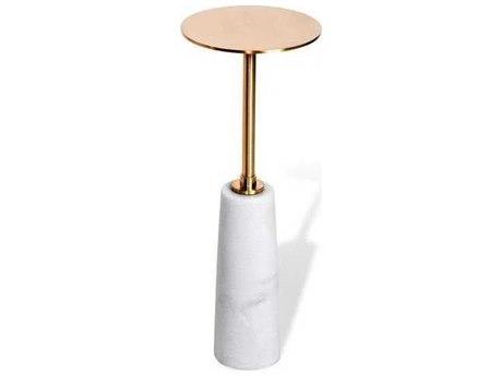 Interlude Home White/ Coffee Bronze 8'' Wide Round Pedestal Table IL159043