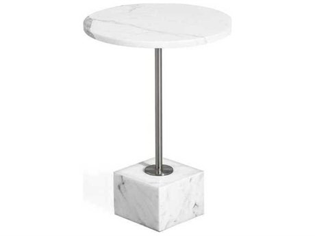 Interlude Home Arabescato/ Brushed Nickel 16'' Wide Round Pedestal Table IL168025