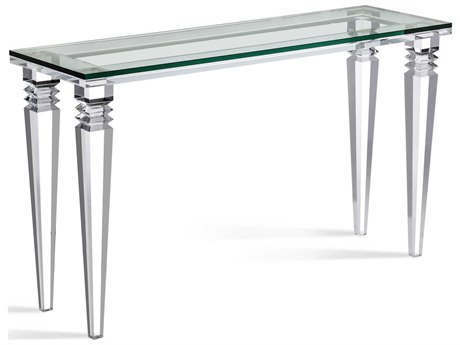 Interlude Home Savannah Clear/Clear Glass 52'' x 16'' Rectangular Console Table IL139010