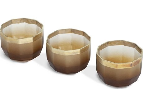 Interlude Home Sawyer Eclipse / Champagne Silver Decagon Votive Candle Holder (Set of 3)