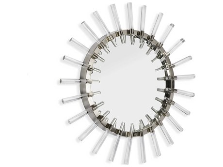 Interlude Home Solange Acrylic Clear / Polished Nickel 32'' Round Wall Mirror IL318034