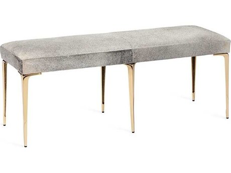 Interlude Home Stiletto Shiny Brass / Natural Grey Accent Bench