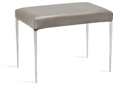 Interlude Home Stiletto Grey Leather / Nickel Stool