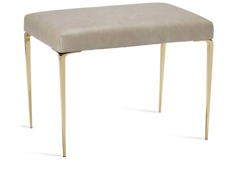 Interlude Home Stiletto Taupe Leather / Brass Stool IL175152
