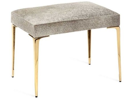 Interlude Home Stiletto Shiny Brass / Natural Grey Accent Stool