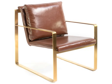 ION Design Brown / Brushed Brass Accent Chair