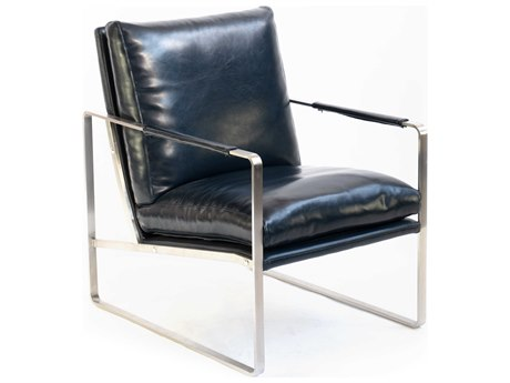 ION Design Dark Blue / Brushed Stainless Steel Accent Chair