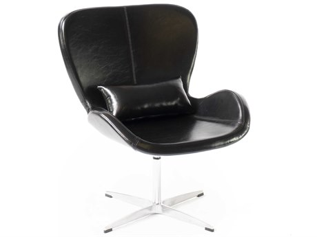 ION Design Black / Aluminum Swivel Accent Chair