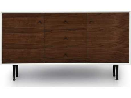 ION Design Cora Walnut & Matte White 58'' x 19'' Small Credenza with Steel Legs IDP12183