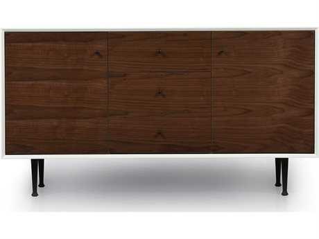 ION Design Cora Walnut & Matte White 58'' x 19'' Small Credenza with Steel Legs