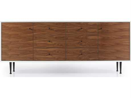 ION Design Cora Walnut & Matte White 77'' x 19'' Large Credenza with Steel Legs IDP12184