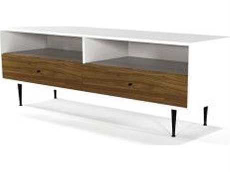 ION Design Cora Walnut & Matte White 68'' x 19.5'' Small Media Unit IDP13048