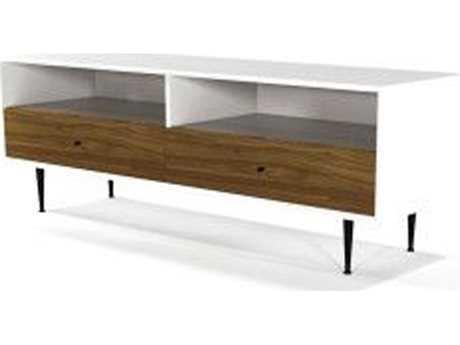ION Design Cora Walnut & Matte White 68'' x 19.5'' Small Media Unit