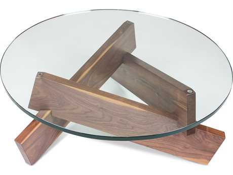 ION Design Plank Walnut 36'' Round Coffee Table with Glass Top IDP13090